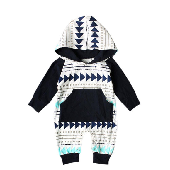 2017 Newborn Kids Baby Boy Girl Infant Romper Jumpsuit Long Sleeve Cotton Hooded Clothes Cute Geometry Printed Autumn Outfit