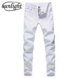 sunligh  Men's Fashion Slim Fit Straight Jeans Summer Casual Pants Denim Trousers Male Brand Designer 98% Pure Cotton