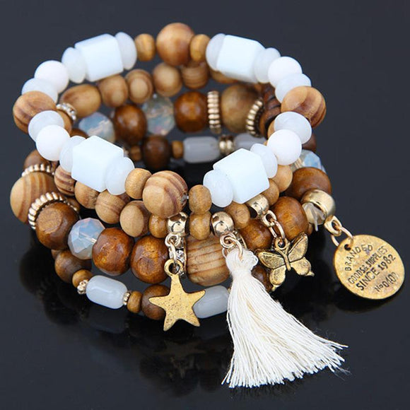 4pcs /Set Charm Wood Beads Bracelet for women Ethnic Tension Mount Round Men Bracelets & Bangles Jewelry Pulseira Masculina