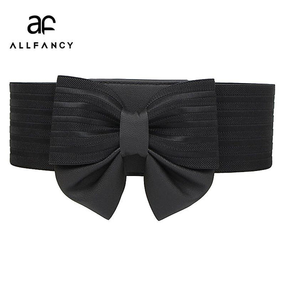 Ms. bow super wide girdle buckle all-match simple elastic waistband dress accessories belt Korean belt
