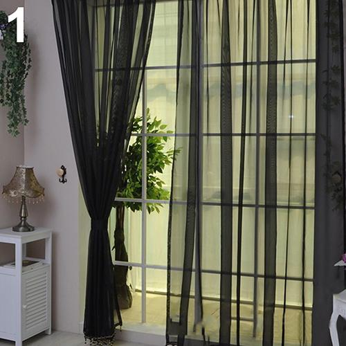 Wedding Party Decor Pure Color Valances Door Window Curtain Drape Panel Sheer