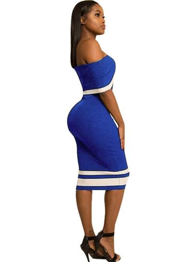 Slash Neck Striped Women's Bodycon Dress