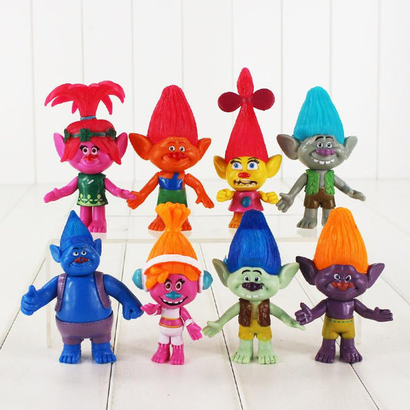 8Pcs/lot  Movie Trolls Poppy DJ Suki Branch DJ Suki Guy Diamond PVC Action Figure Toy pendant