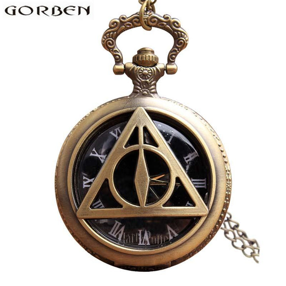 Harry Potter Deathly Hallows Antique Pocket Watch Necklace Retro Vintage Quartz Fob Flip Clock With Chain For Men Women Gift