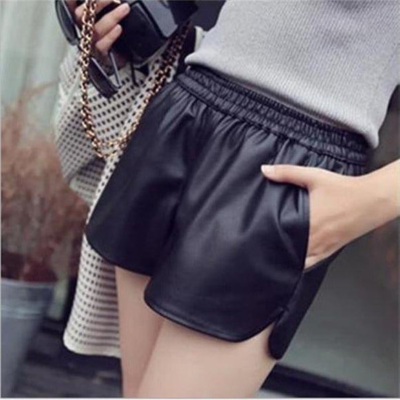 Fashion Womens Black Faux Leather Shorts Sexy High Waisted Shorts with Pockets