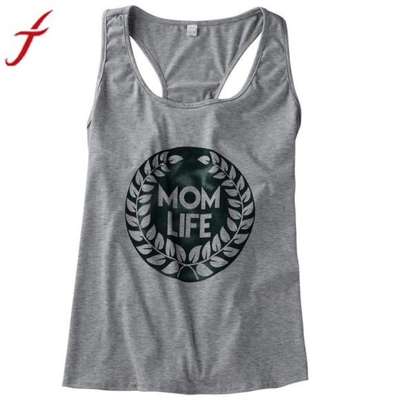 mom life Summer Tank Tops 2017 Women Letter Printing Sleeveless Fitness Shirt Casual Gray female Tshirt Loose Cotton Top Tees