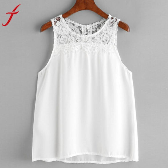 White Chiffon Tank Tops 2017 Summer Women Sexy Backless Lace Crop Tops Vest Sleeveless Halter Tank Tops Blusa T-Shirt