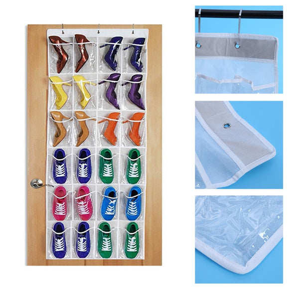 Hanging Storage Bags 24 Pockets Over Door Wall Hanger Shoes Bag Rack Home Organizer Tidy Storage Box Hanging Organizer