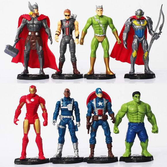 Hot 8pcs/lot The Age of Ultron Thor Iron Man Ultron Nick Fury Hulk Captain America Action Figure Toy