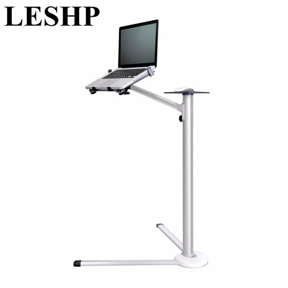 LESHP 360 Degree Rotation Height Adjustable Laptop Floor Stand With Mouse Tray Aluminum Alloy Ergonomics Laptop Desk Holder
