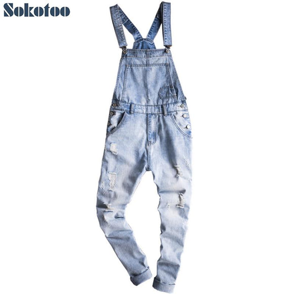 Sokotoo Men's light blue slim snow washed denim bib overalls Casual hole ripped suspenders jumpsuits Cargo torn jeans