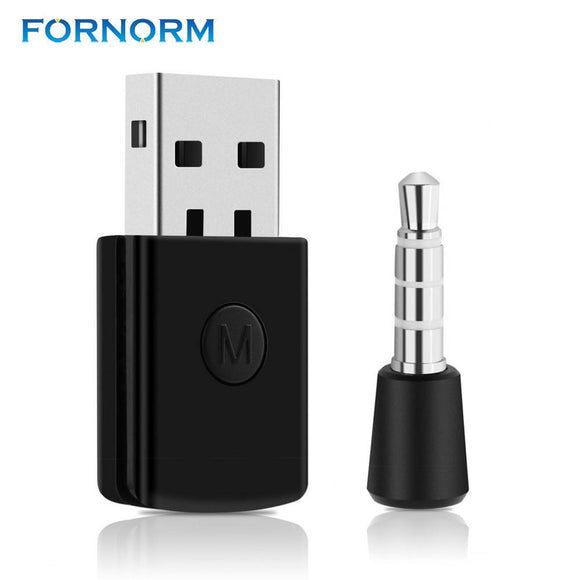 FORNORM Bluetooth 4.0 Dongle USB Adapter 3.5mm EDR USB for PS4 Stable Performance Bluetooth Headsets with male to female cable