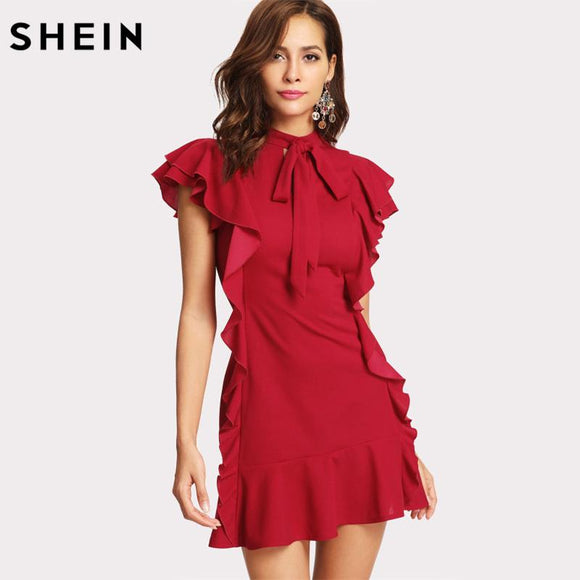 SHEIN Women Party Dress Flounce Embellished Tied Neck Dress Red Tie Neck Cap Sleeve Ruffle Hem Zipper Back Sheath Dress
