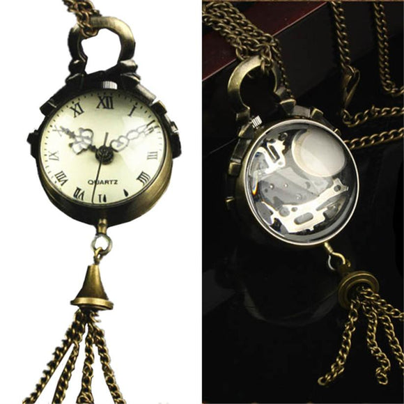 Womens Quartz Pocket Watch 1 PC Victorian Style Vintage Necklace Watch Pendant Glass Ball Shape Keychain Watch Wholesale Gift C5
