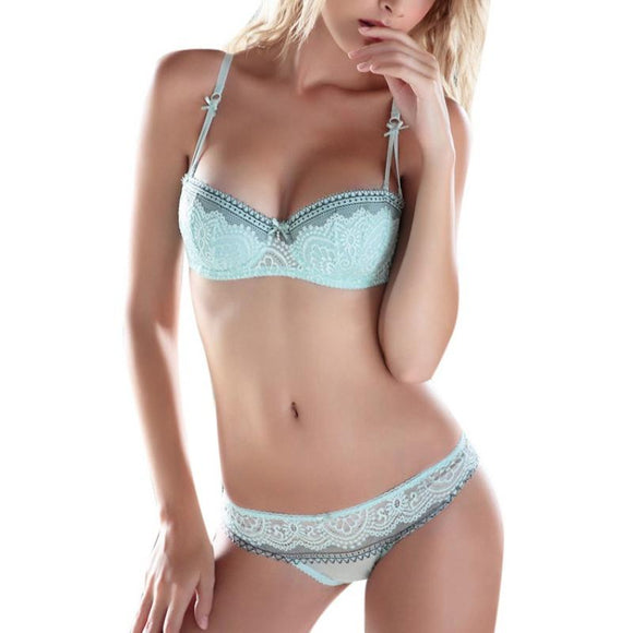 6f9d8e67ec474 Women Girls Summer Sweet Lace Embroidery Half Cup Bowknot Sexy Push Up  Underwear And Panty Bra
