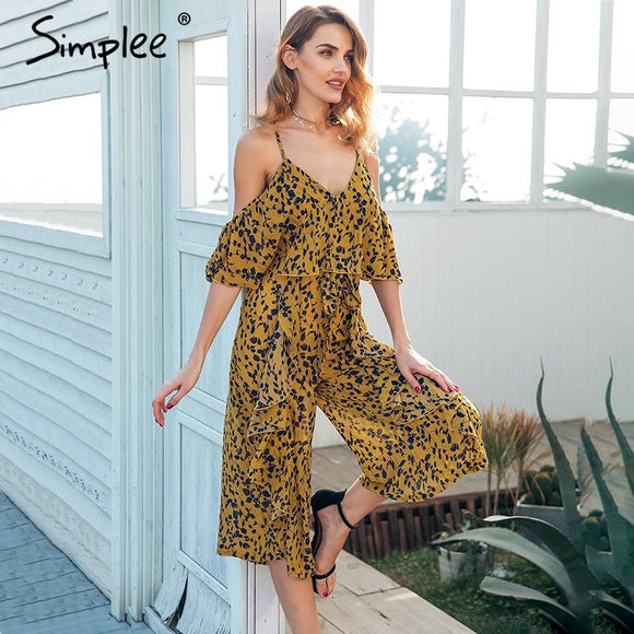 Simplee Sexy strap ruffle chiffon jumpsuit women Cold shoulder wide leg print jumsuit 2018 Summer beach playsuits