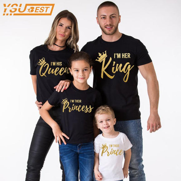 4b9f48085 Family Matching Outfits Summer Father King Mother Queen Daughter Princess  Son Prince Clothes Cotton T-