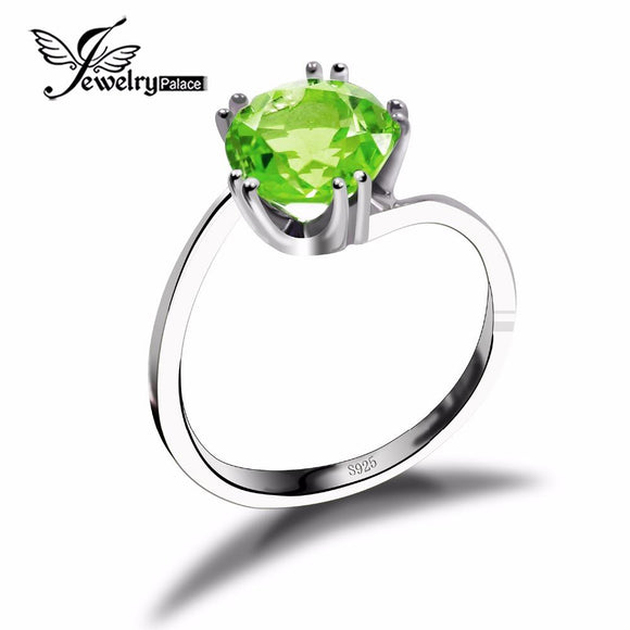 Classic Round Natural Green Peridot Ring Solid 925 Sterling Silver Jewelry New Bijoux Genuine Fine Feminine Gemstone Trendy