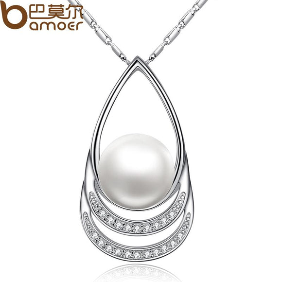 BAMOER  Silver Color Imitation Pearl Necklaces & Pendants with Paved Micro AAA Cubic Zircon Women Jewelry YIN027