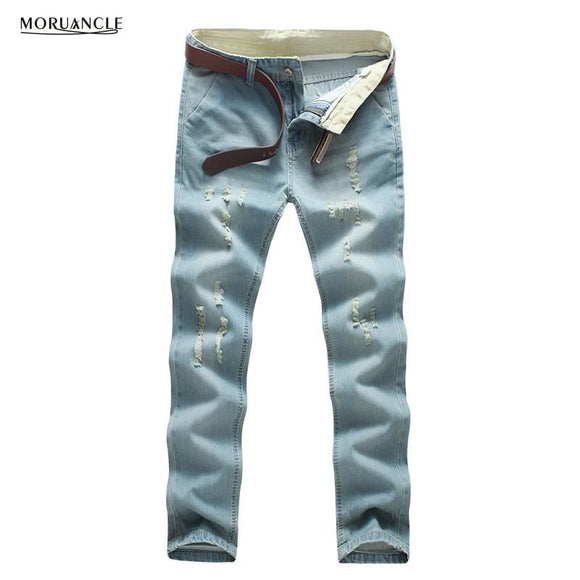 MORUANCLE New Men's Ripped Jeans Pants Slim Fit Straight Distressed Denim Trousers Joggers Light Blue Washed