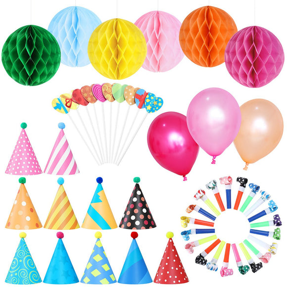NUOLUX Party Decorations Kit 11pcs Birthday Hats with Pom Poms 20pcs Party Blowouts 6pcs Paper Flower Balls 10pcs Balloons 10pcs Heart Shaped Cake Toppers for Birthday Wedding Party Supplies