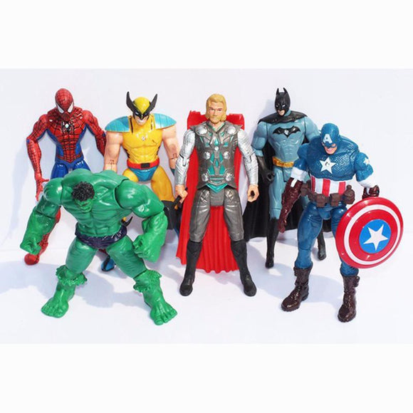 6X Marvel Hulk+Captain+Wolverine+Batman+Spiderman Figure Collection Kids Action Figure Toys Robot WJ424