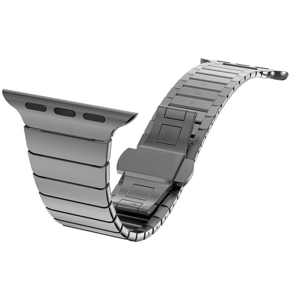 Top quality Butterfly clasp Lock Link loop band stainless steel for Apple Watch band link bracelet strap 38mm 42mm for iwatch