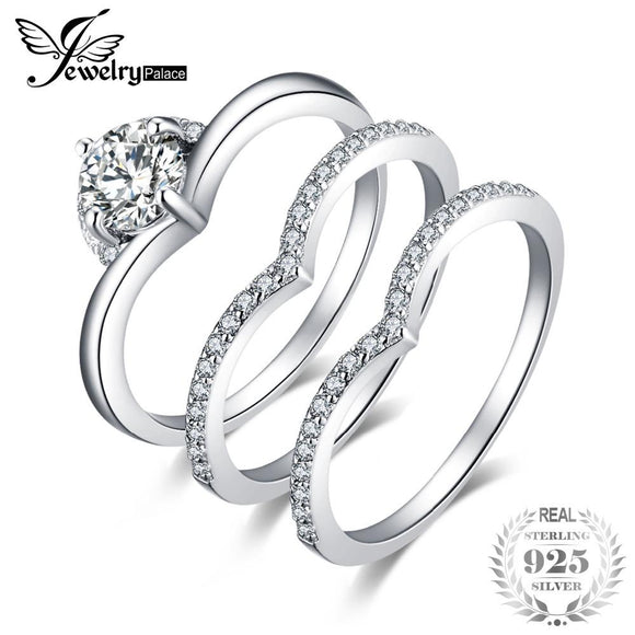 cca3492d5aa JewelryPalace 1.5ct 3 Pcs Anniversary Wedding Band Solitaire Engagement  Ring Bridal Sets 925 Sterling Silver