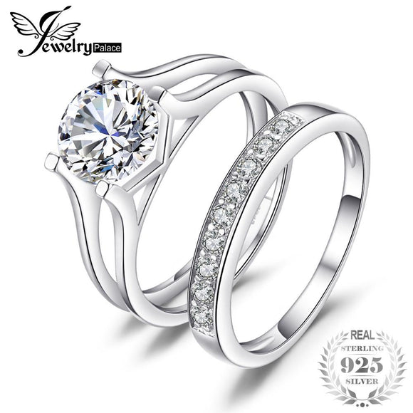 542823ac204 JewelryPalace 2ct Anniversary Wedding Band Solitaire Engagement Ring Bridal  Channel Pure Set 925 Sterling Silver Jewelry