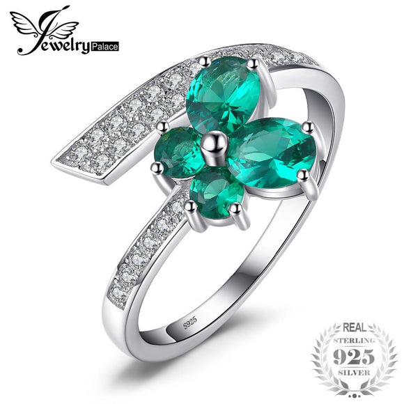 JewelryPalace Butterfly 1ct Created Emerald Ring 925 Sterling Silver Jewelry for Women Fashion Jewelry Elegant Gift Hot Selling