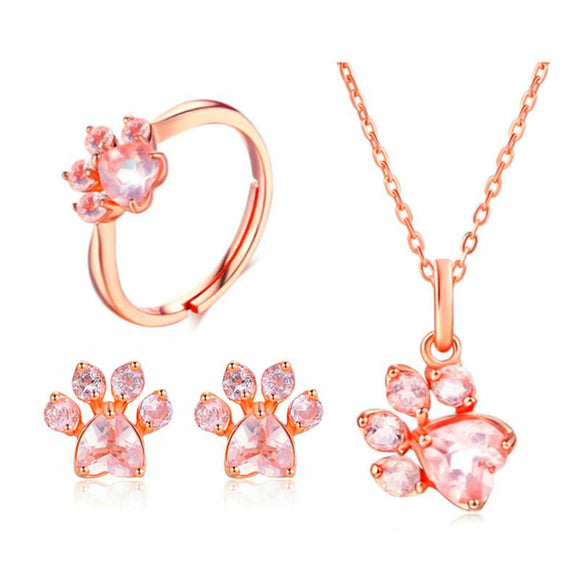 Charm CZ Wedding Jewelry Set Luxury Crystal Heart Fashion Rose Gold Paw 5x5.5mm Bearfoot Jewelry Sets For Women Drop Shipping