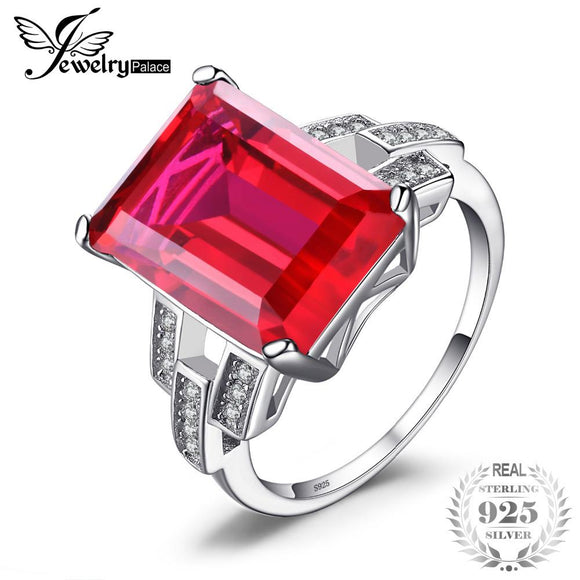 JewelryPalace Luxury Emerald Cut 9.2ct Created Red Ruby Cocktail Ring 925 Sterling Silver Jewelry for Women Fashion Ring