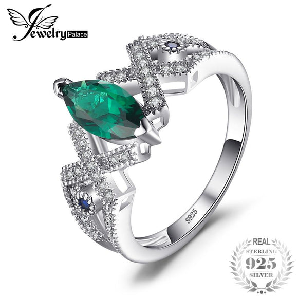 JewelryPalace Vintage 2.7ct Created Emerald & Blue Spinel Ring Genuine 925 Sterling Silver Fashion Rings For Women Fine Jewelry