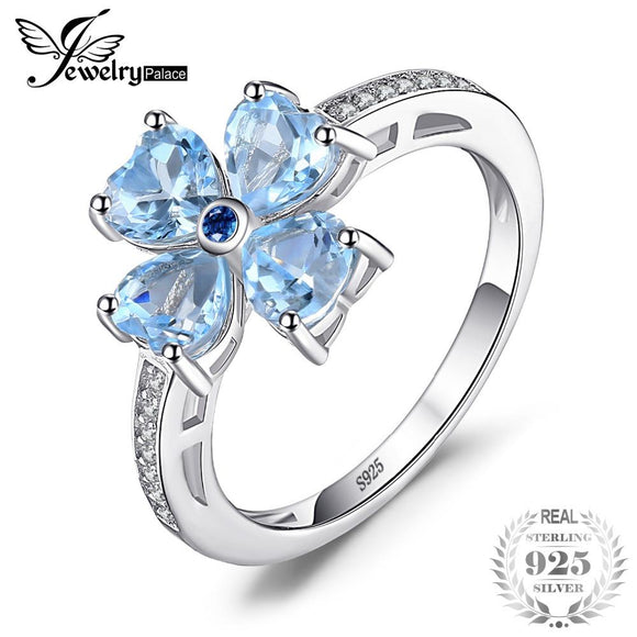 JewelryPalace 2.2ct Heart-Shape Genuine Sky Blue Topaz Flower Statement Ring 925 Sterling Silver Ring for Women Romantic Gift