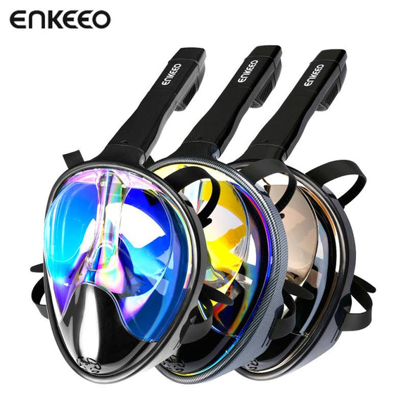(ship from AU) Enkeeo Scuba GoPro Camera Snorkel Mask Underwater Anti Fog Full Face Snorkeling Mask with Anti-skid Ring Snorkel