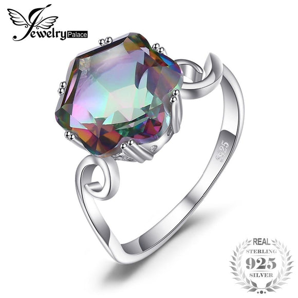 JewelryPalace 3.2ct Genuine Natural Rainbow Fire Mystic Topaz Solid 925 Sterling Silver Ring For Women 2018 Fashion Fine Jewelry