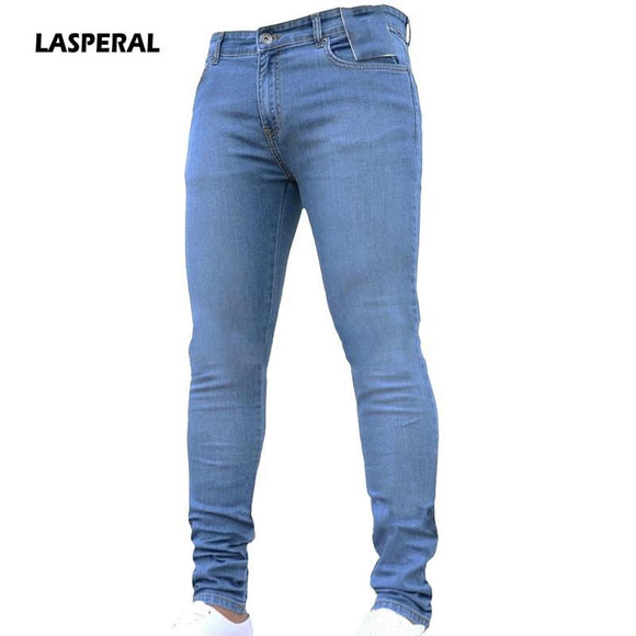 LASPERAL 2018 New Fashion Men's Casual Stretch Skinny Jeans Trousers Tight Pants Solid Color Jeans Men Brand Mens Designer Jeans