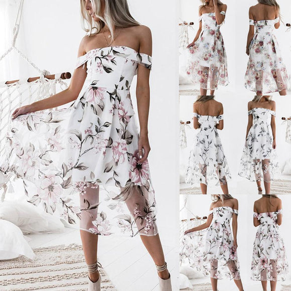 Women Summer Off Shoulder Floral Printed Long Maxi Dress
