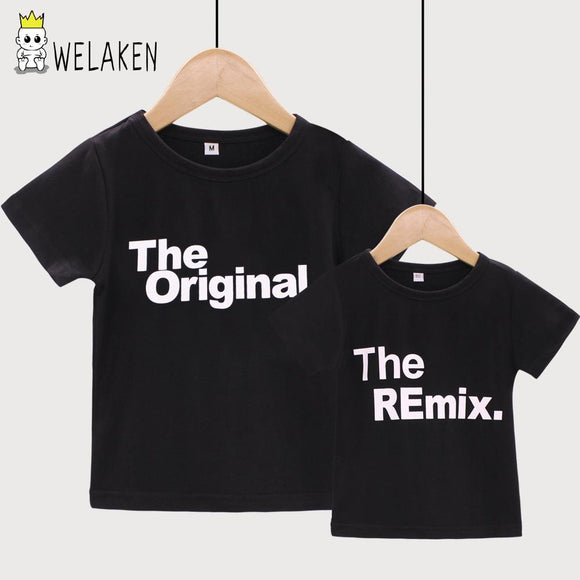 167aa702 weLaken 2018 New Fashion Family Matching Outfits Letter Printed The  Original Remix Family T-shirts