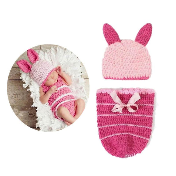 2 in1 Caps with shorts Pink Pig Animal Costume Cosplay Chothing sets Hand-Knitted newborn handmade Toddler infant baby boys