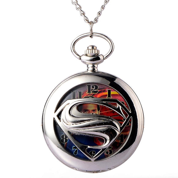 Relogio Retro Silver Quartz Pocket Watch steampunk Clock Watches with Superman logo Necklace watches Mens Womens Christmas Gifts