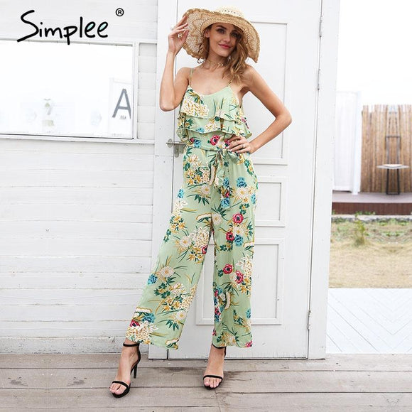 Simplee Boho floral print strap tiered ruffle jumpsuit women Sexy high waist wide leg loose jumpsuit 2018 summer beach playsuit