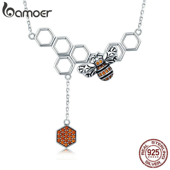 BAMOER New Arrival 925 Sterling Silver Insect Bee Honeycomb Dangle Pendant Necklace for Women Sterling Silver Jewelry SCN216