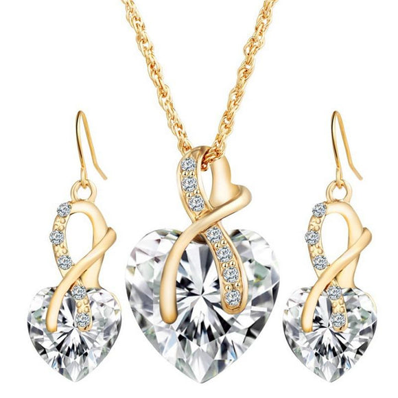 Jewelry Sets For Women Crystal Heart Necklace Earrings Jewellery set