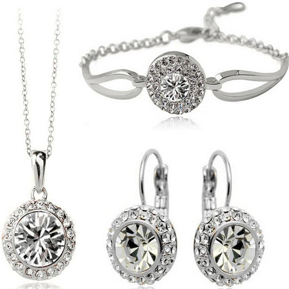 Bridal Gift Fashion Jewelry Full Rhinestone Necklace Bracelet Earrings Set