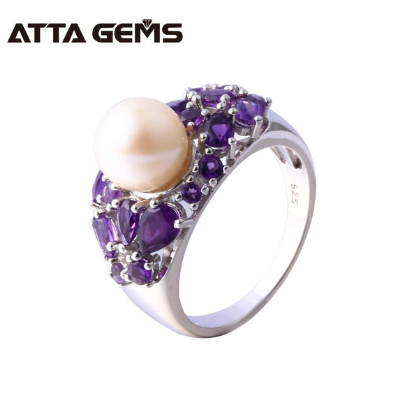 Natural Freshwater Pearl Amethyst Silver Ring Women Round 8.5mm Natural Amethyst Purple Quarts Special Design Top Quality