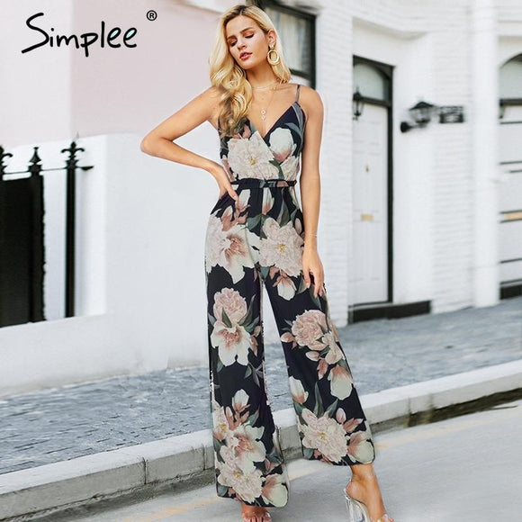 Simplee Sexy floral print women jumpsuit Loose V-neck elastic strap playsuits summer Fashion backless wide leg sash overalls