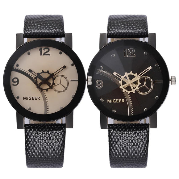 MIGEER 1Pair Lovers Couple Business Watches Mens Women Vogue Steel Dial Analog Quartz Watch Men Faux Leather Band Watches #LH