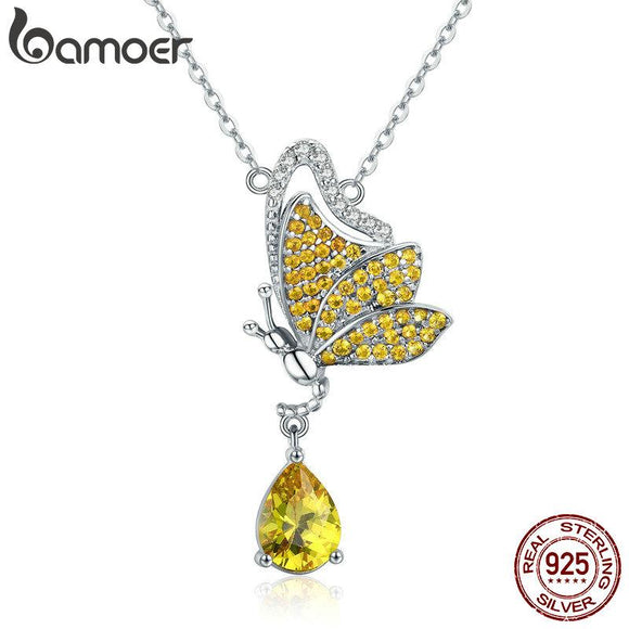 BAMOER New Trendy 100% 925 Sterling Silver Sparkling Dancing Butterfly Pendant Necklaces Women Sterling Silver Jewelry SCN241