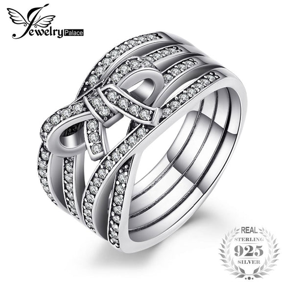 9d635bc7d8b Jewelrypalace 925 Sterling Silver Intertwined Bowknot Pave Cubic Zirconia  Ring Hot Selling Rings For Women Gifts